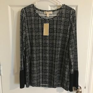NWT MICHAEL KORS houndstooth top SZ M